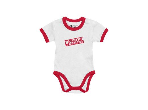 Frágil, hecho con amor - Bodie manga corta bebé (Blanco) ribete rojo