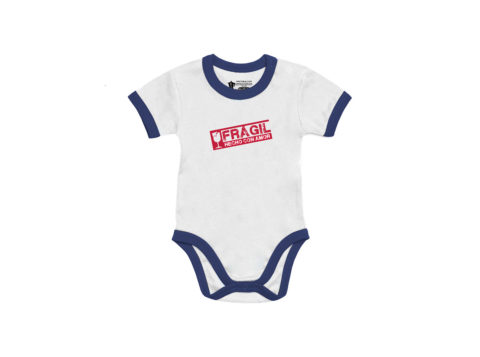Frágil, hecho con amor - Body manga corta bebé (Blanco) ribete azul marino