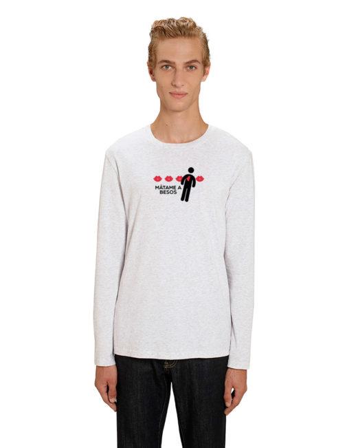 'Mátame a besos' - Camiseta manga larga (blanco vintage)