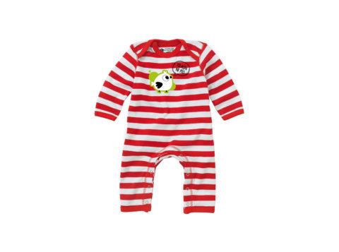 Yo aún ni pío - Bodie entero bebé (rojo con rayas blancas)