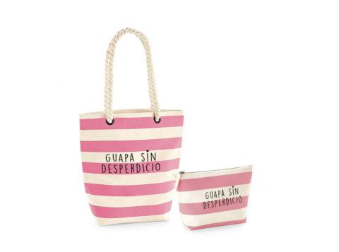 'Guapa sin desperdicio' - Bolsa de piscina y estuche a juego (blanco con rayas rosa)