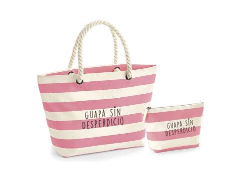 'Guapa sin desperdicio' - Bolsa de playa y estuche a juego (blanco con rayas rosa)